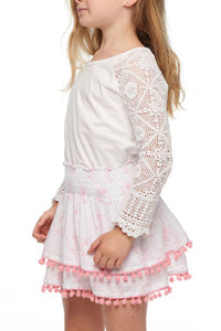 Girls White Crochet Boho Top