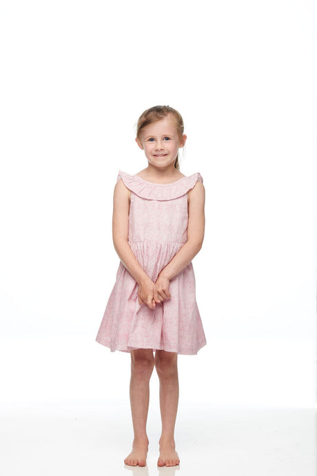 Girls Pink Butterfly Open Back Bow Dress