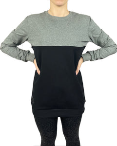Colour block nursing jumper - Grey/Black