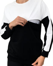 Load image into Gallery viewer, Colour block nursing jumper - White/Black