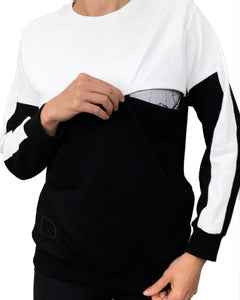 Colour block nursing jumper - White/Black