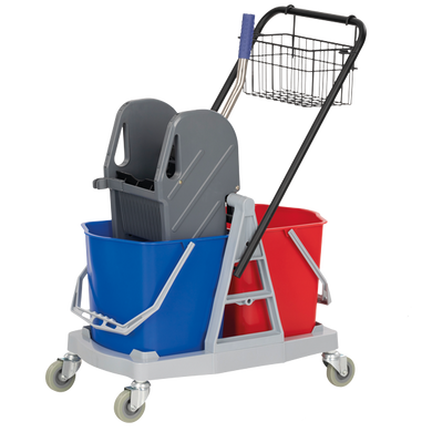 Double bucket mopping trolley and wringer to buy from Cleaning Supplies 2U