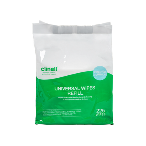 Clinell Universal Hand and Surface Wipes (effective against Covid19) - 225 Refill pack for bucket to buy from Cleaning Supplies 2U