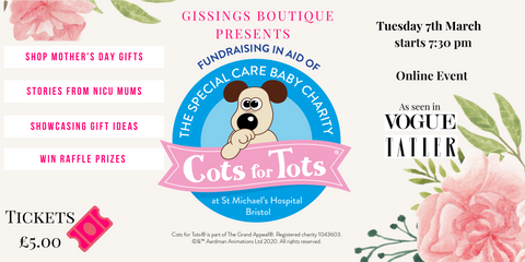 Gissings Boutique Mothers Day Cots for Tots Charity