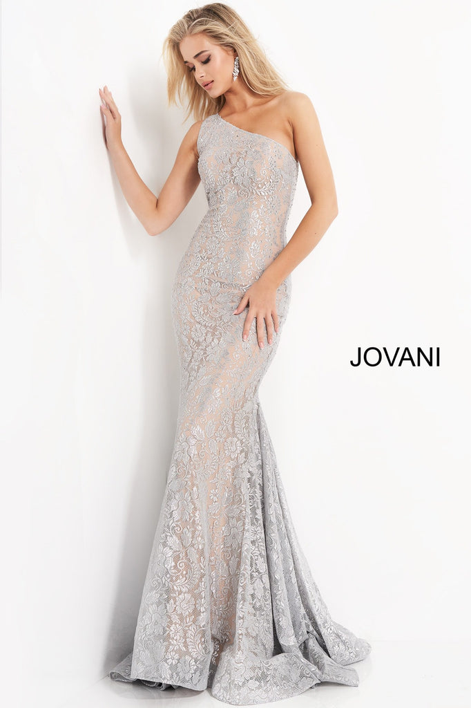 Jovani Silver Lace Prom Dress - Gissings Boutique
