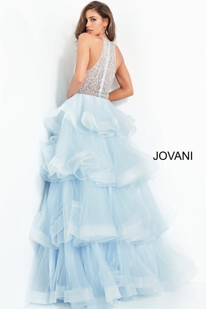 Jovani Light Blue Embellished Bodice Ballgown - Gissings Boutique