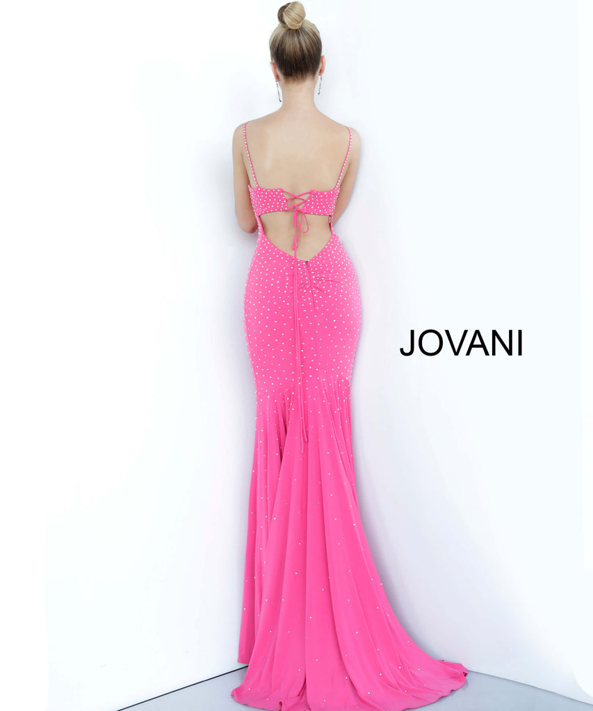 Jovani Pink Jersey Embellished Prom Dress - Gissings Boutique