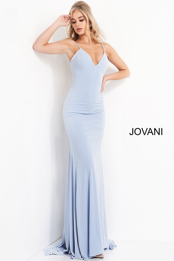 Jovani Light Blue Jersey Embellished Prom Dress - Gissings Boutique