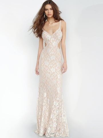 Jovani Champagne Embellished Lace Gown