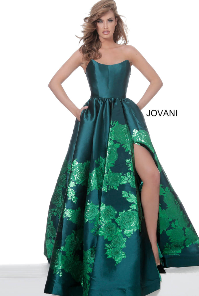 Jovani Emerald Strapless Floral Gown - Gissings Boutique