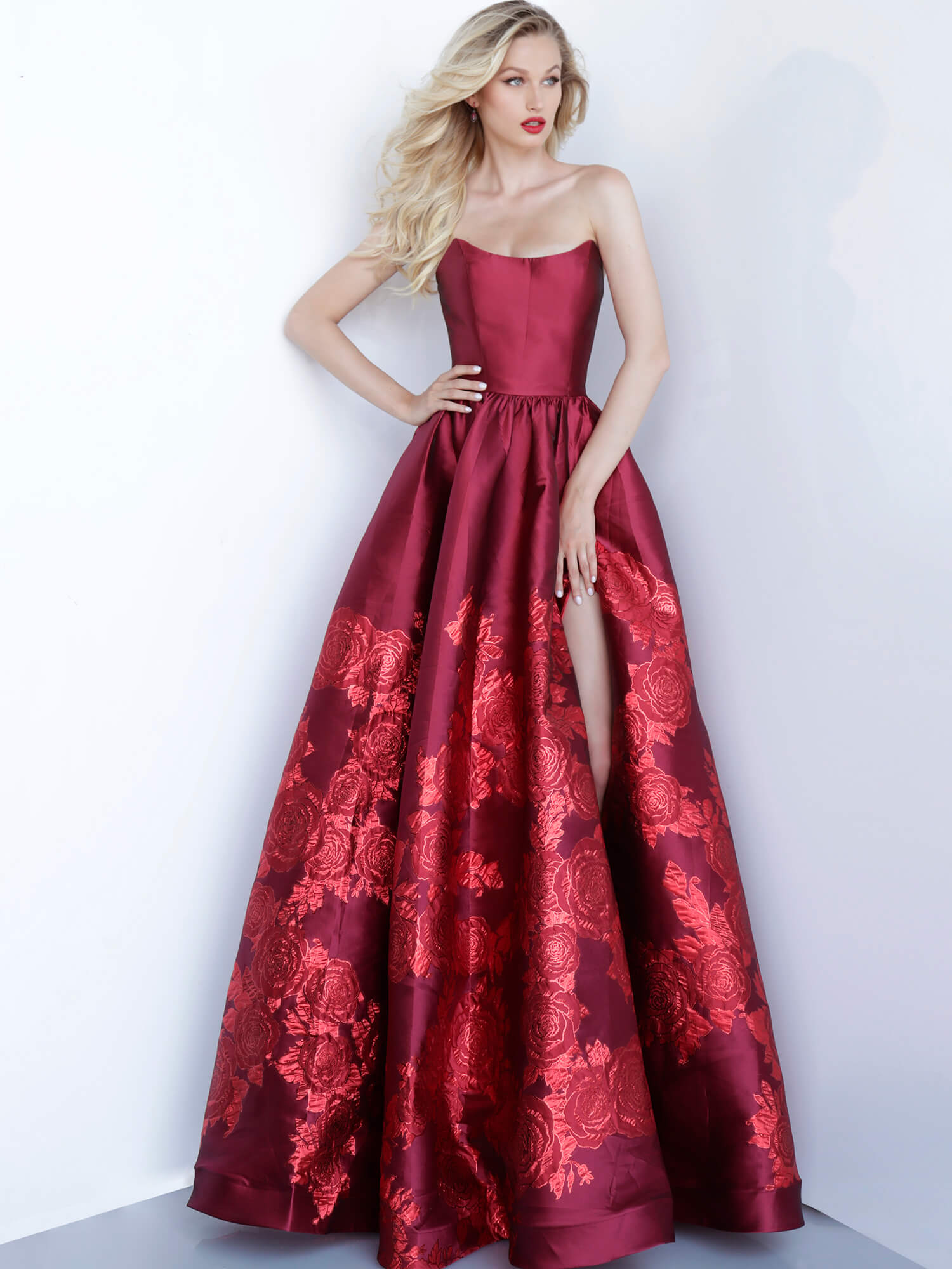 Jovani Red Strapless Floral Gown