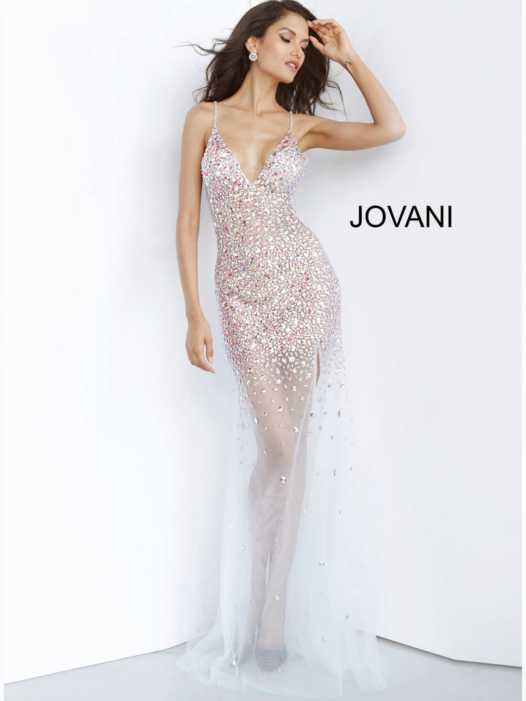Jovani Beaded Illusion Prom Dress - Gissings Boutique