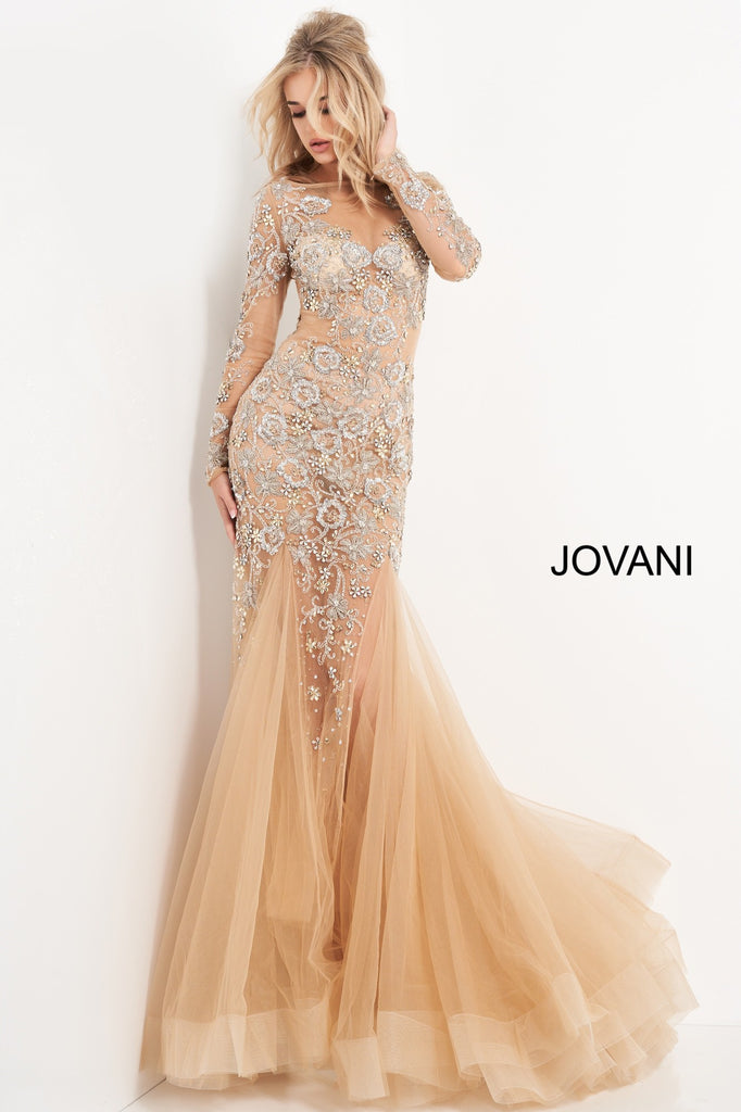 Jovani Beaded Long Sleeve Illusion Evening Dress - Gissings Boutique