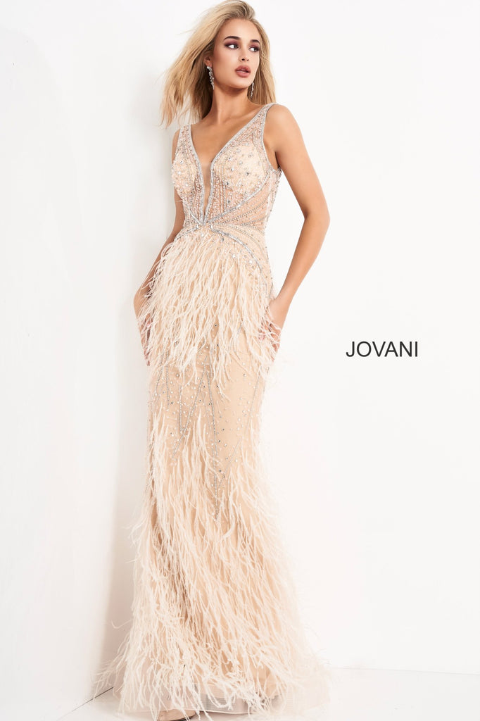 Jovani Cream Plunging Neck Faux Feather Embellished Gown - Gissings Boutique