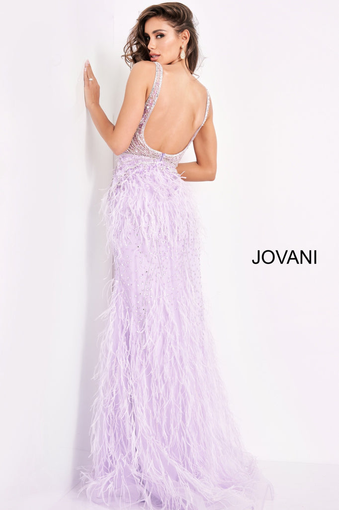 Jovani Lilac Plunging Neck Faux Feather Embellished Gown - Gissings Boutique