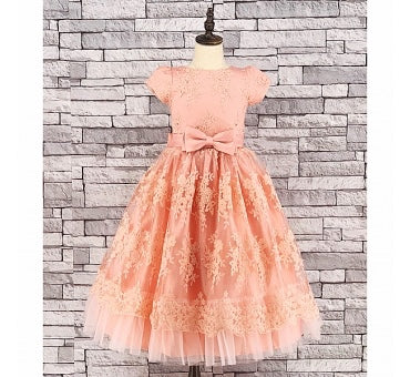 Girls Peach Floral Tulle & Lace Party Dress - Gissings Boutique