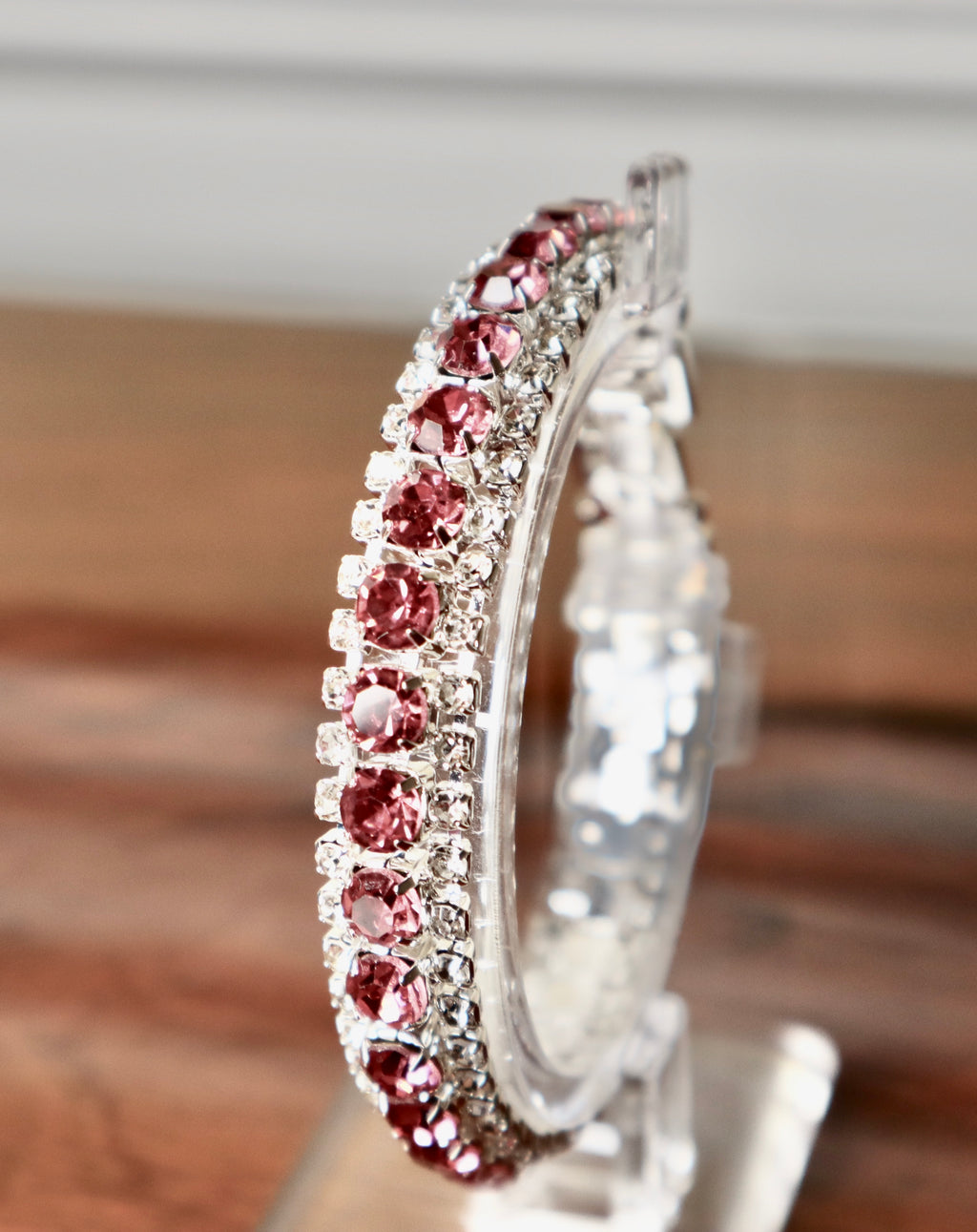 Clear & Rose Diamanté Bracelet - Gissings Boutique