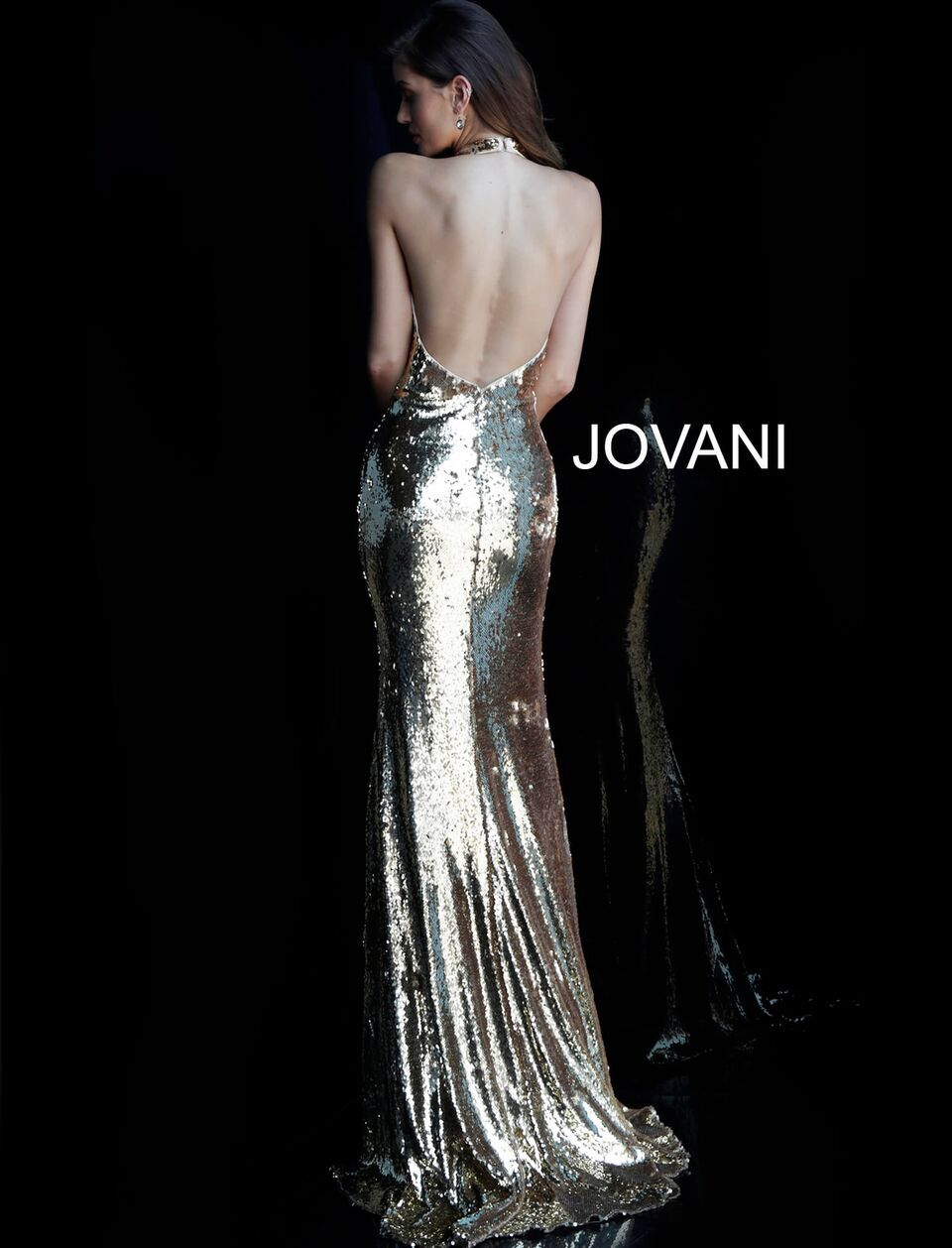 Jovani Gold Halter Neck Backless Sequin Gown