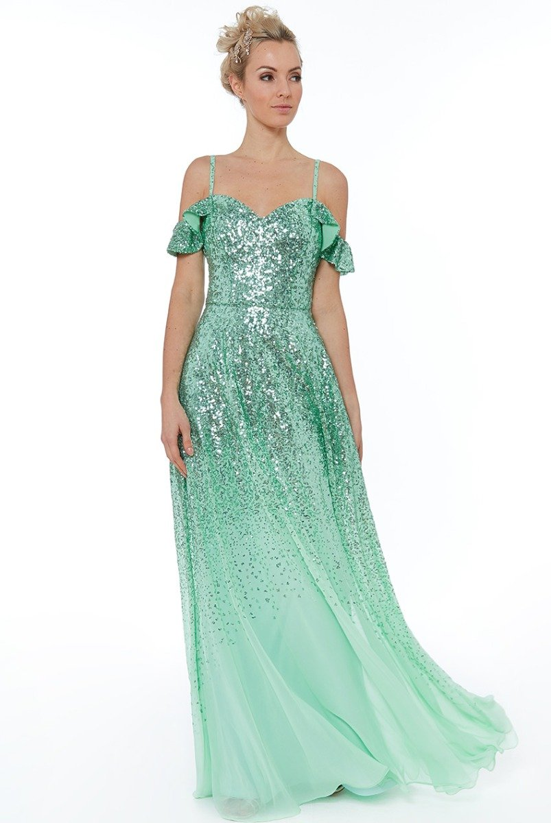 Mint Flutter Sleeve Sequin & Chiffon Gown