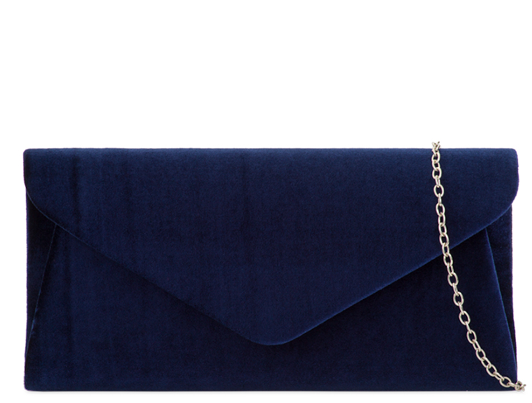 Navy Velvet Evening Clutch Bag - Gissings Boutique