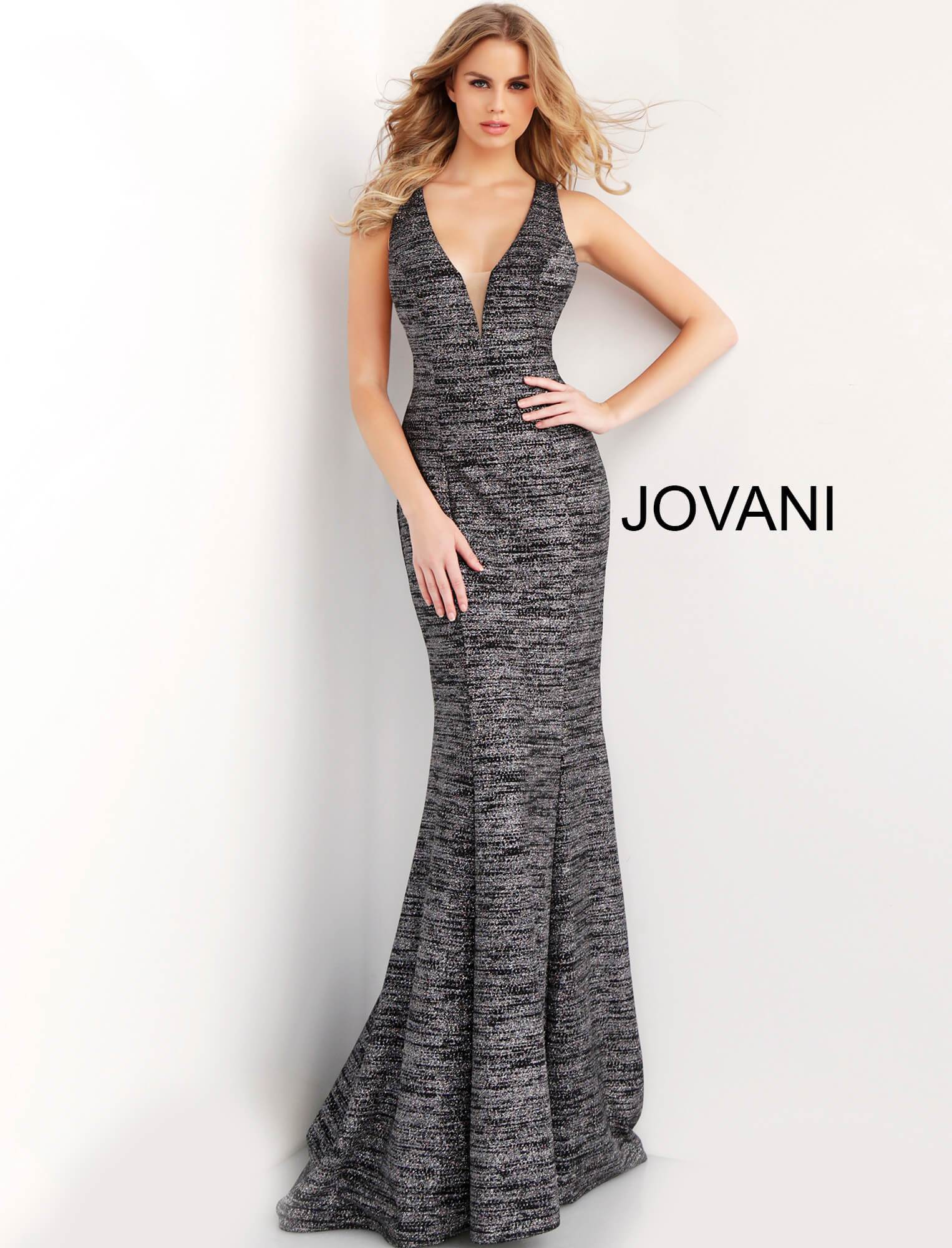 Jovani Glitter Jersey Plunging Neckline Gown - Gissings Boutique