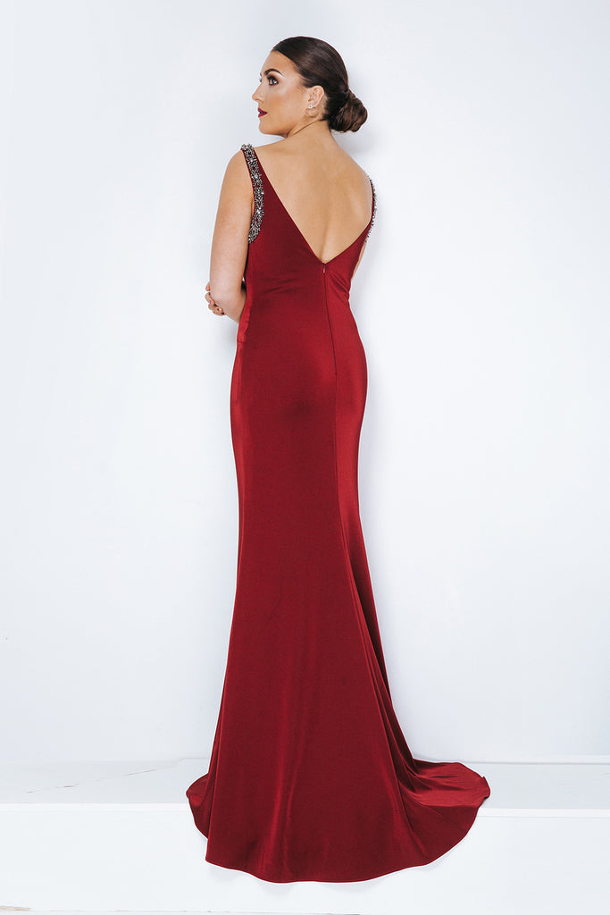 Dynasty London Long Satin Jersey Evening Gown - Gissings Boutique
