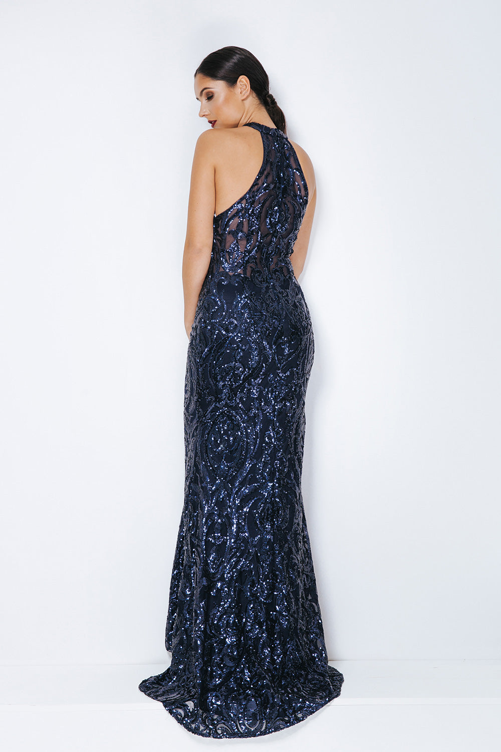 Midnight Blue Evening Gown - Gissings Boutique