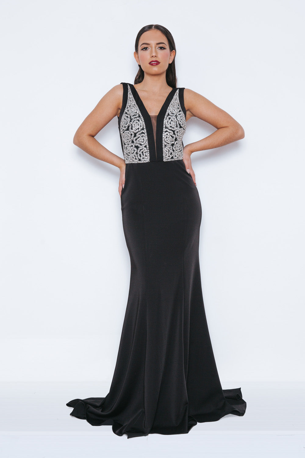 Ghasna Black Long Evening Gown