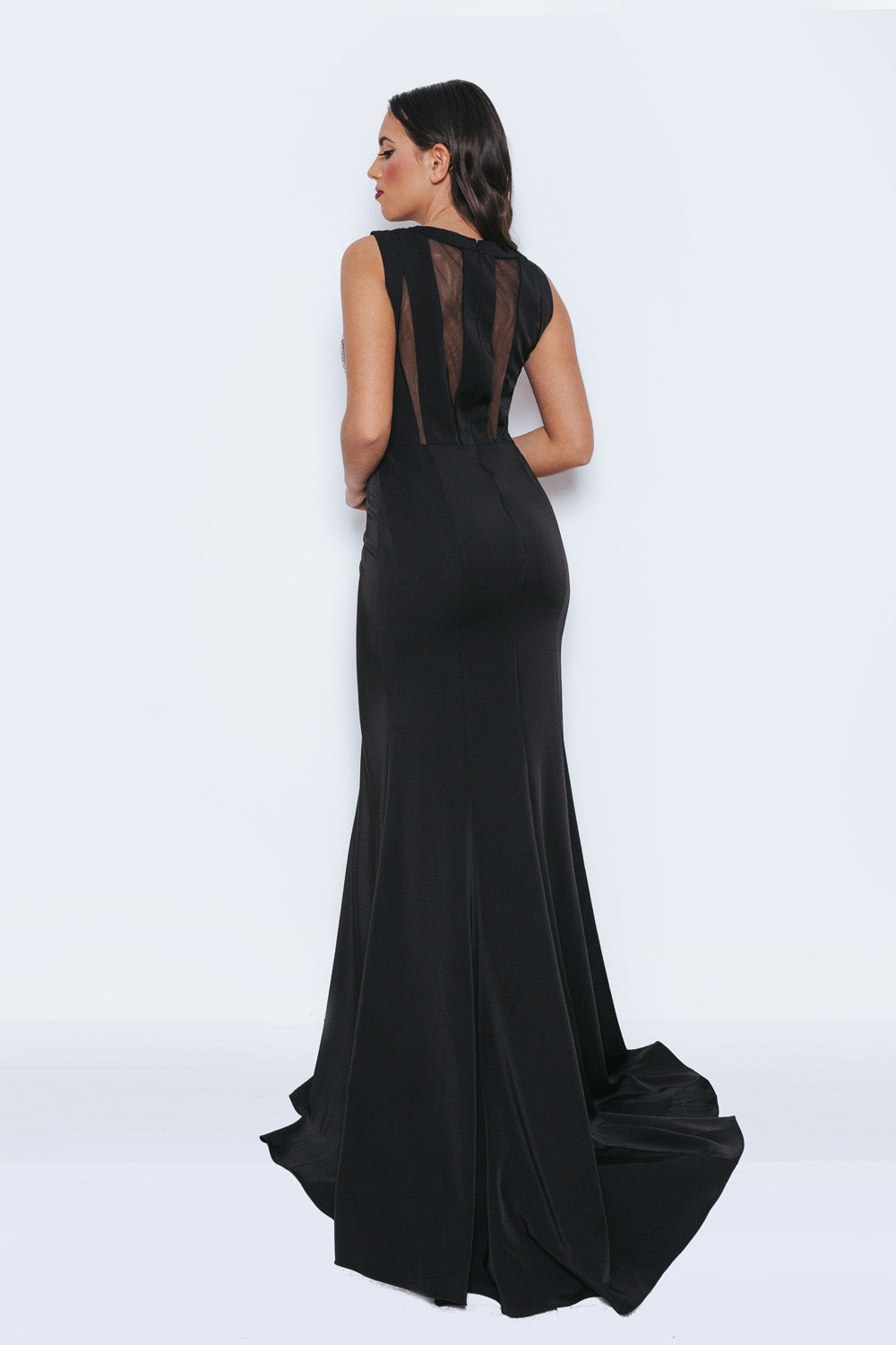 Ghasna Black Long Evening Gown - Gissings Boutique