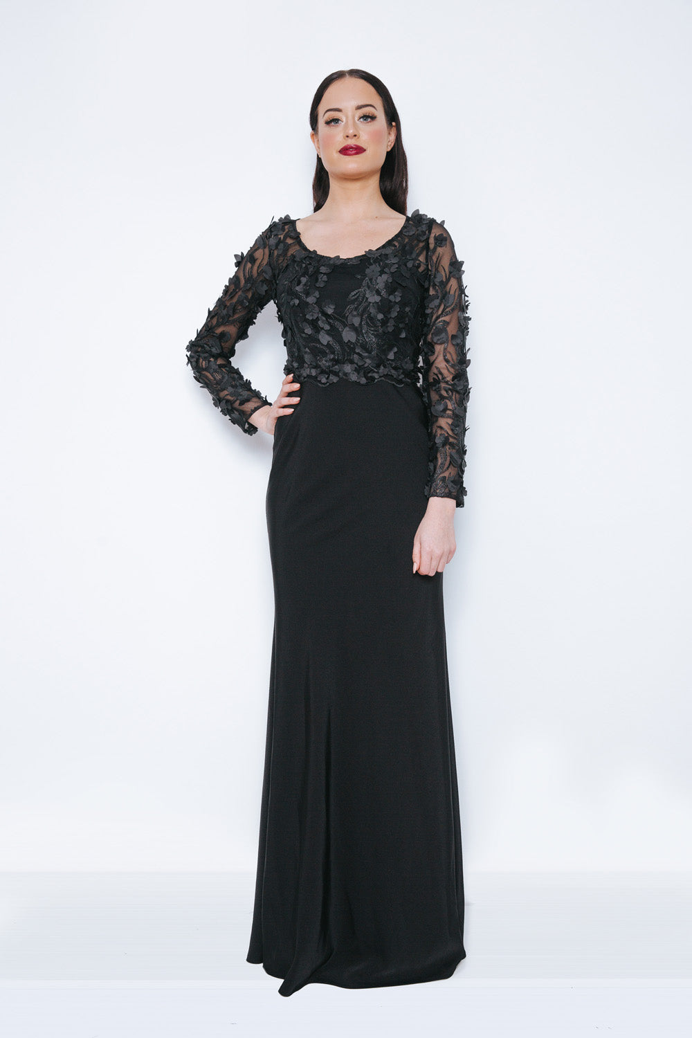 Dynasty London Annely Black Long Evening Gown - Gissings Boutique