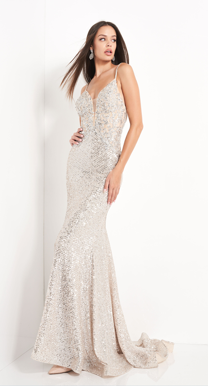 Jovani Silver Sequin Plunging Neckline Prom Dress - Gissings Boutique