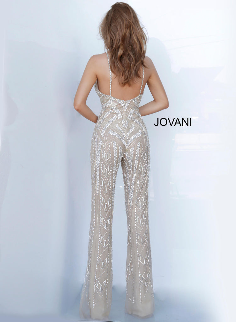 Jovani Silver Beaded Jumpsuit - Gissings Boutique