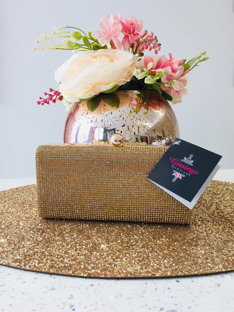 Mini Gold Crystal Clutch Bag - Gissings Boutique
