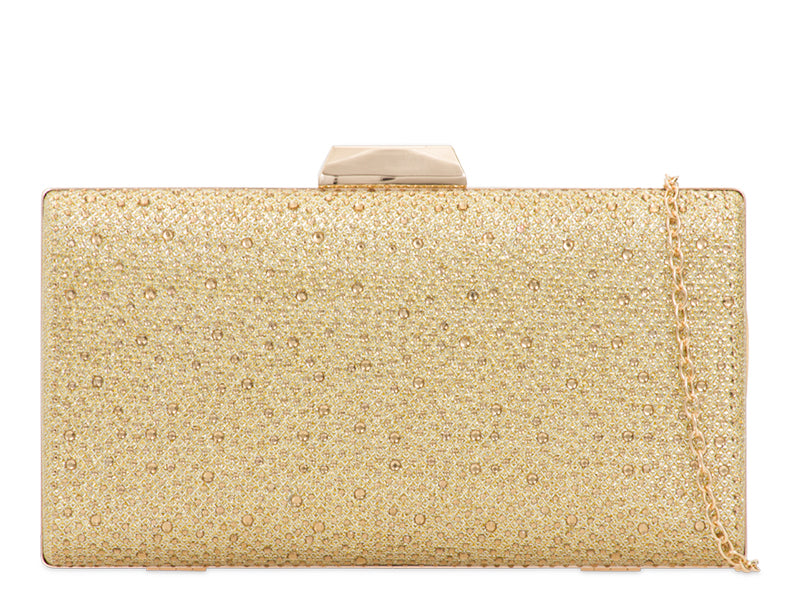 Gold Crystal & Glitter Evening Clutch Bag - Gissings Boutique