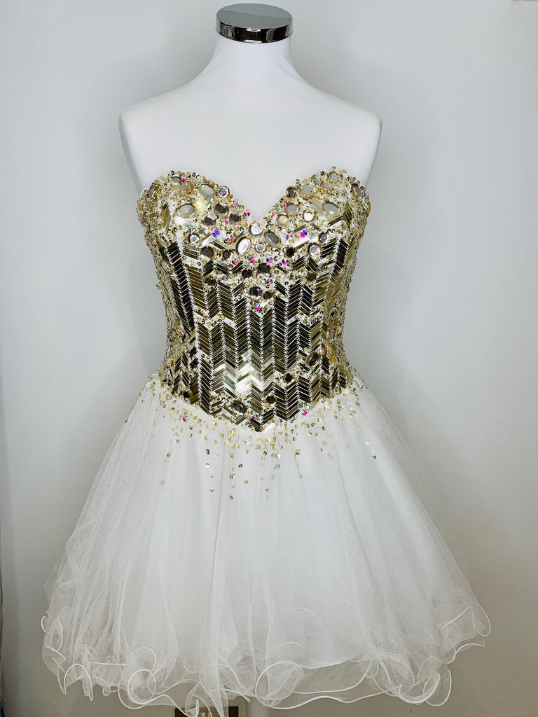 Gold & White Short Pageant Dress - Limited Edition - Gissings Boutique