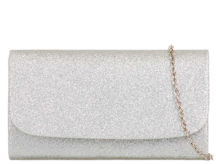 Silver Mini Glitter Clutch Bag - Gissings Boutique