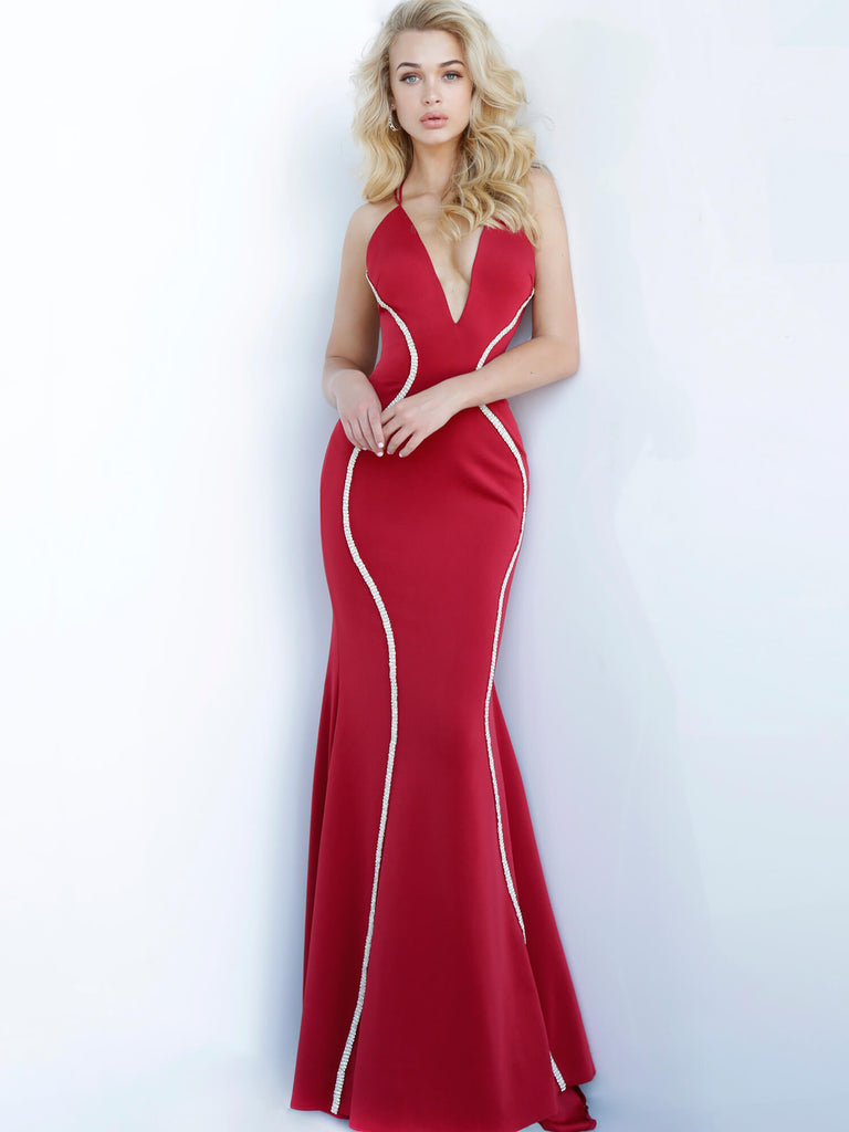 Jovani Red Criss Cross Back Gown - Gissings Boutique
