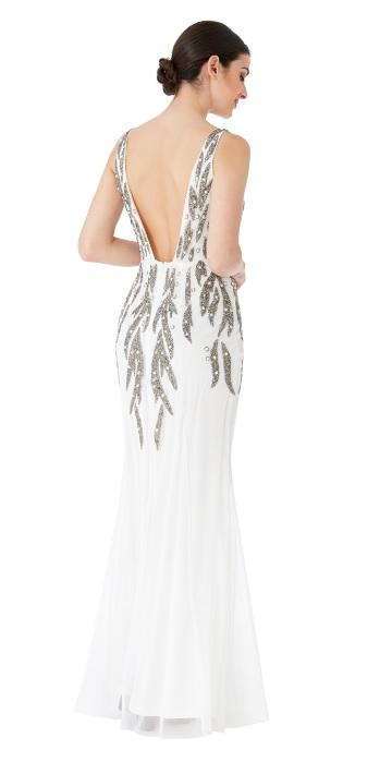 White Pearl Embellished Open Back Dress