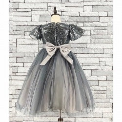 Girls Silver Sequin & Tulle Bridesmaid Dress - Gissings Boutique