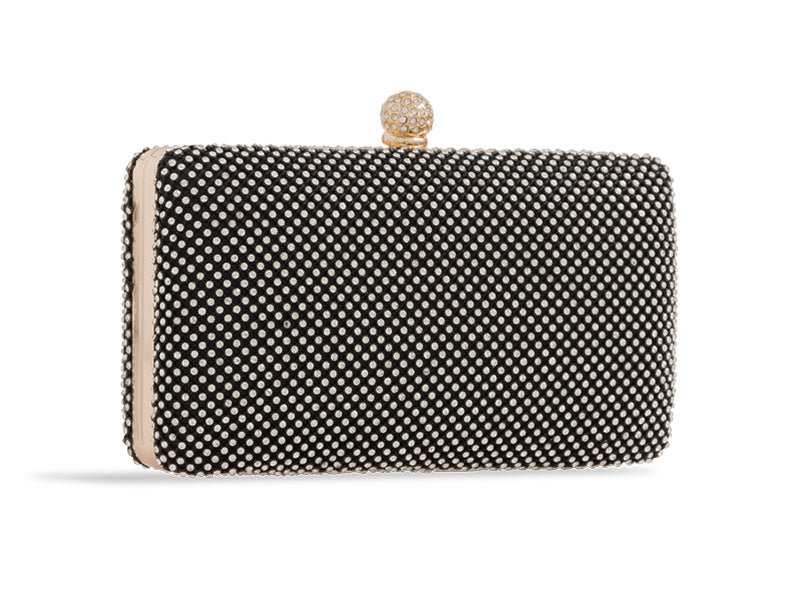 Black Crystal Studded Evening Clutch Bag - Gissings Boutique