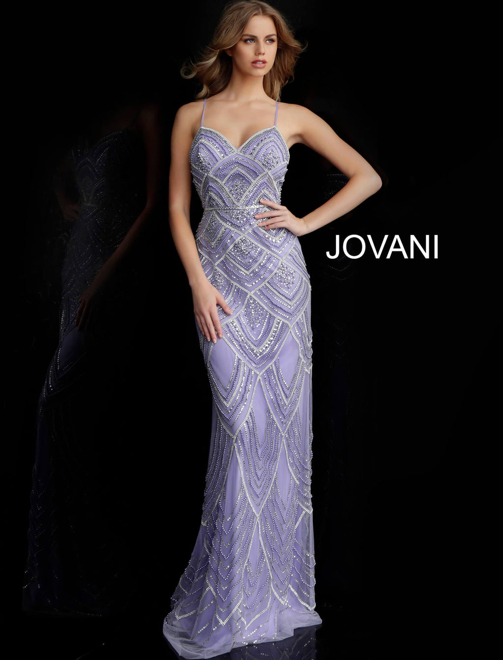 Jovani Lilac Pearl & Crystal Gown