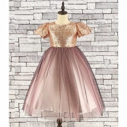 Girls Gold Sequin & Tulle Party Dress - Gissings Boutique