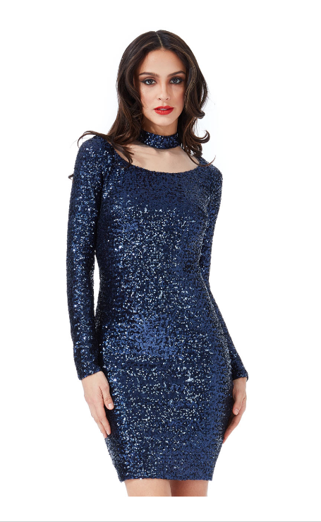 Black Sequin Cocktail Party Dress