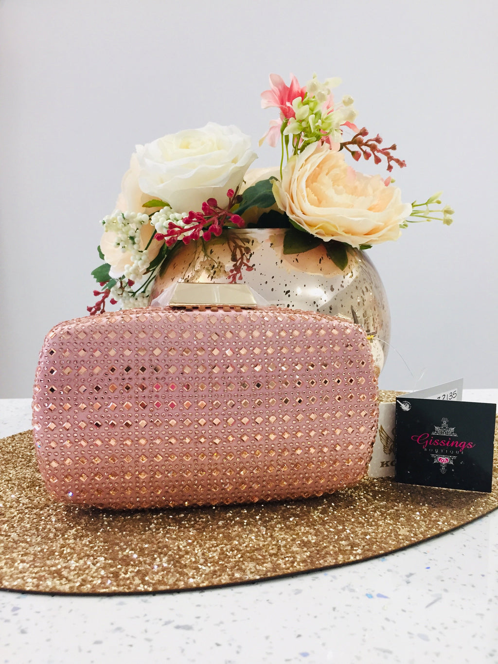 Pink Crystal Embellished Evening Bag - Gissings Boutique