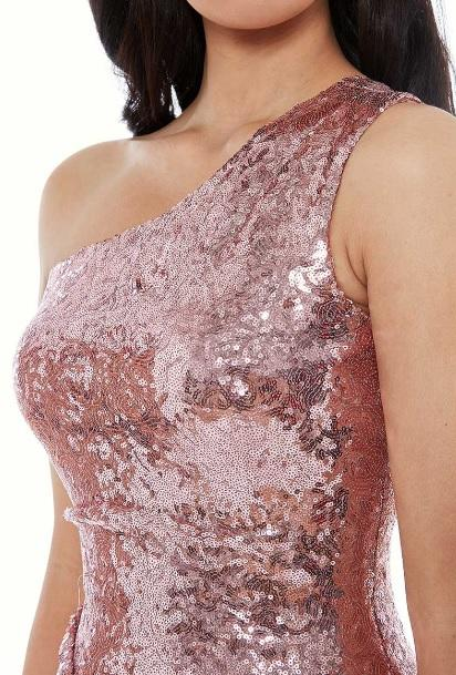 Rose Sequin One Shoulder Gown - Gissings Boutique