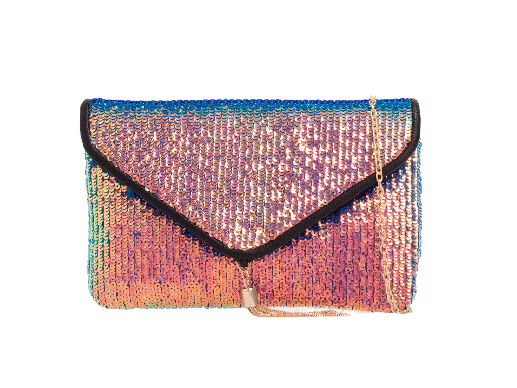 Multi Coloured Sequin Clutch Bag - Gissings Boutique