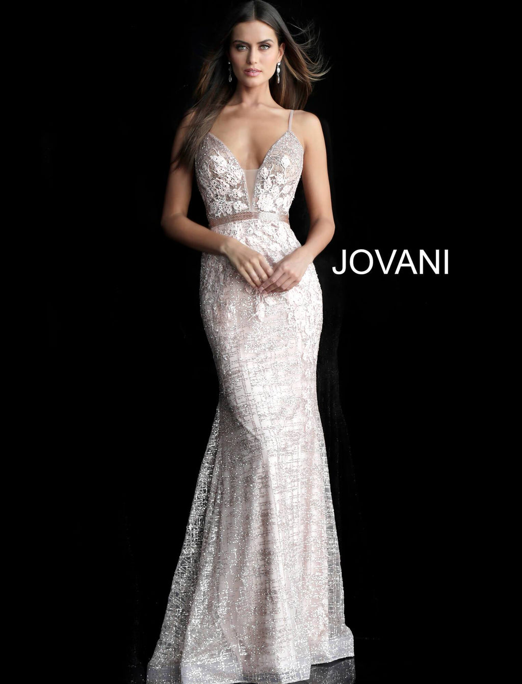 Jovani Rose Gold Mermaid Prom Dress