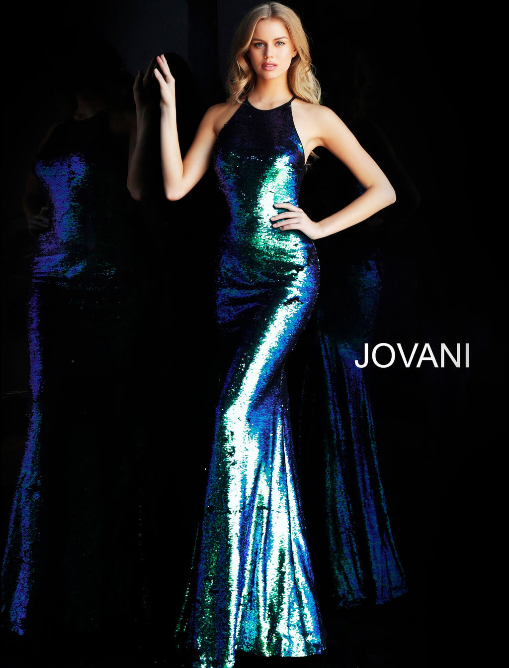 Jovani Multi Sequin Fitted Prom Dress - Gissings Boutique