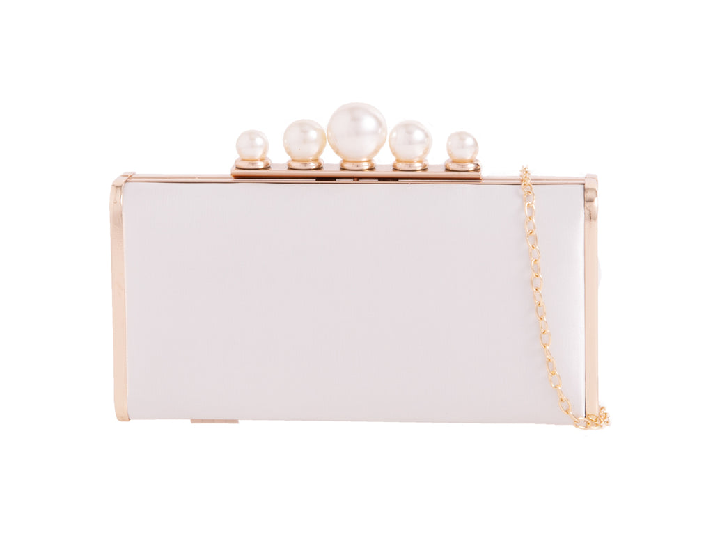Satin Ivory & Pearl Clutch Bag - Gissings Boutique