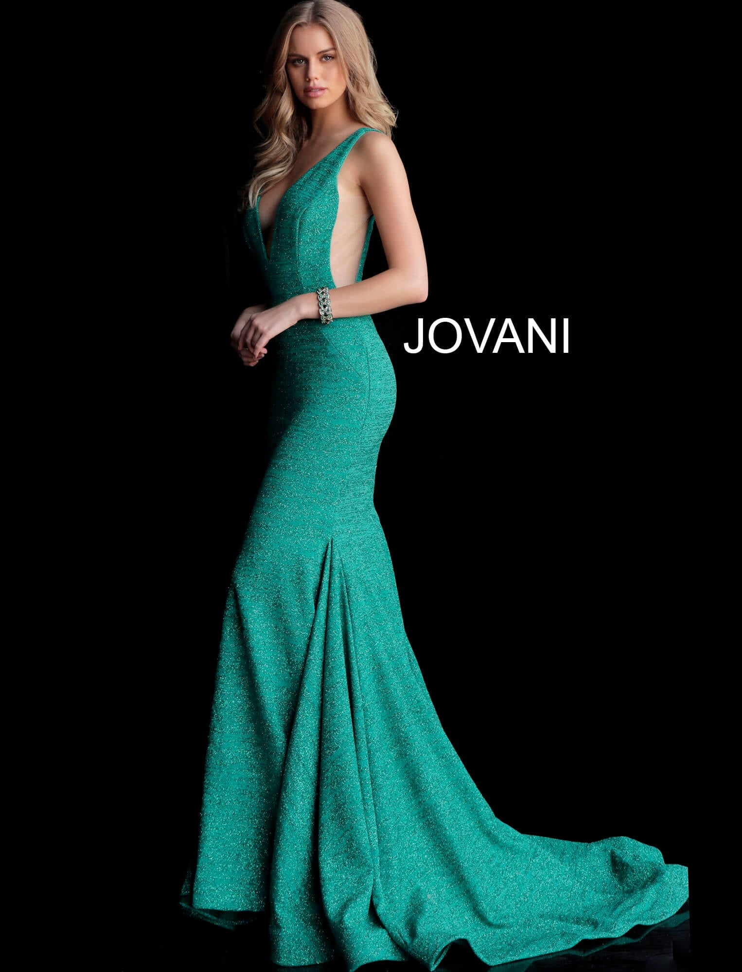 Jovani Jade Plunging Gown - Gissings Boutique